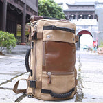 Retro Cylindrical Drum Travel Multi-function Shoulder Bag  Large Outdoor Canvas Backpack
