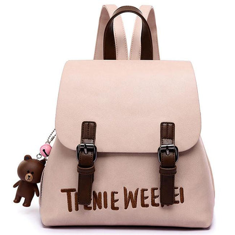Fashion Frosted PU Letters Embroidery Belt Flap Small School Backpack