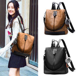 Retro Brown Vertical Zipper Multi-function Travel Bag Leather Backpack