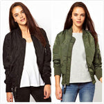 Vintage Basic Jacket Biker Outwear Winter Coat Bomber Jacket