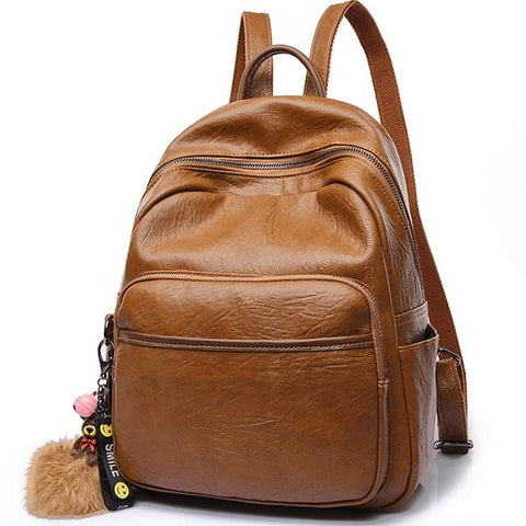 Retro Simple Brown British Style College Student Backpack Soft PU School Bag