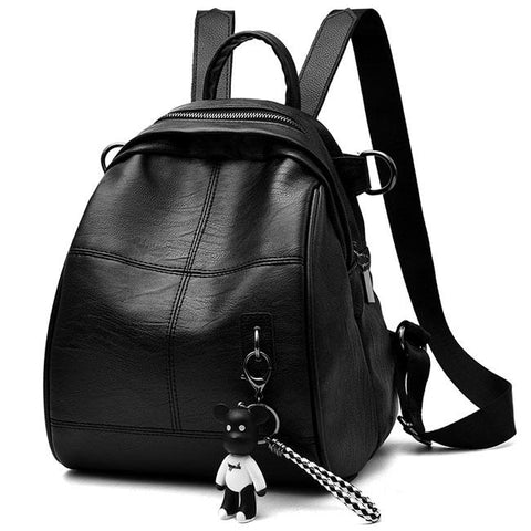 Cute Girl's PU Black Waterproof Bucket Bag Simple School Backpack Leisure Travel Backpack