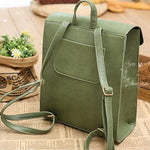 Fresh Green Horse Button PU School Bag College Backpack - wikoco.com
