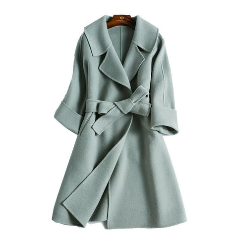 Double-sided Hand-sewn Tailored Collar Cashmere Woolen Coat Women Jacket