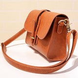 Retro Flap Metal Lock Catch Purse Small Shoulder Bag Simple Brown PU Messenger Bag