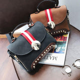 Fashion Contrast Color Blocking PU Flap Punk Rivets Frosted Handbag Shoulder Bag