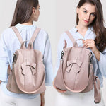 Elegant Pink Bow-knot Soft Leather Multi-function Shoulder Bag  Women Bag Student Backpack