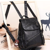 Retro Double Oblique Zipper PU Campus British Style Tassel Brown School Backpack