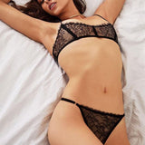 Sexy T-pants Underwear Women Black Lace Bra Set Bikinis  Intimate Lingerie