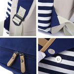 New Striped Large School Bag Travel Bag Stripe College Canvas Backpack