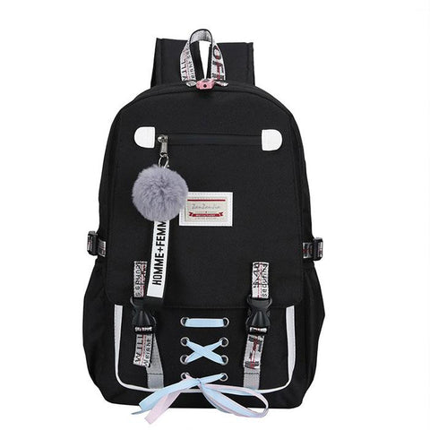 Leisure Shoelace Bundle Student Bag Large USB Interface Sport Backpack - wikoco