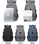 Simple Laptop Bag Large USB Interface Trunk Travel Rucksack Sport Backpack - wikoco