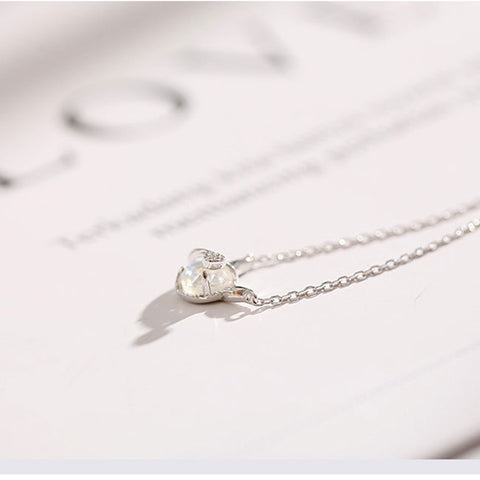 Cute Little Devil Pendant Simple Dream Crystal Silver Temperament Necklace