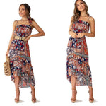 Leisure Flower Halter Strap Beach Holiday Long Bohemia Summer Dress