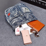 Retro  Glasses Lips Perfume Single Buckle Denim British Flash Drilling Student Backpack - wikoco