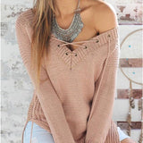 Long Sleeves Sweater V Neck Knitting Bandage Pullover Blouse Top