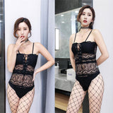 Sexy Hollow Perspective Bandage Conjoined Black lace Slimming Women Intimate Lingerie
