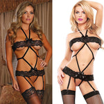 Sexy Lace Open Bandage Extremely Seductive Conjoined Bow Black Women Intimate Lingerie