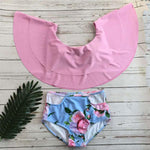 Sexy Pink Flower High Waist Women Bikinis Ruffled Leaf Swimsuit