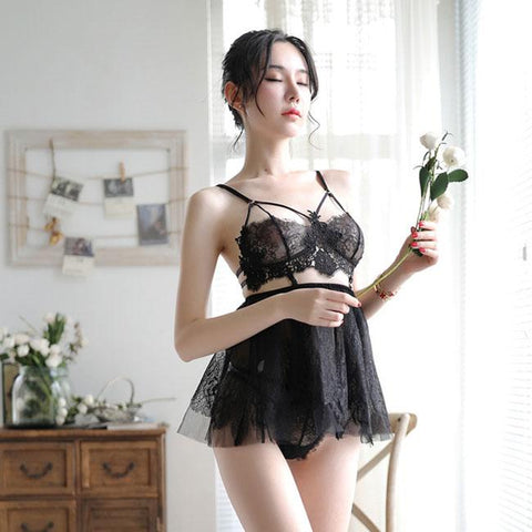 Sexy Pajamas Sling Perspective Skirt Women Lace Bra Set Nightdress Lingerie - wikoco