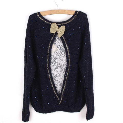 Sequined Bowknot Knitted Lace Match Sweater - wikoco.com