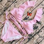 Sexy  Bundle Pink Stripe Women Ruffle Bikinis Swimsuit