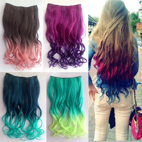Night Club Long Wavy Colorful Clip Hair Weft - wikoco.com