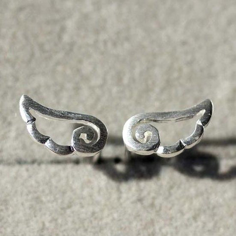 Sweet Angel Wings Frosted Silver Stud Earrings