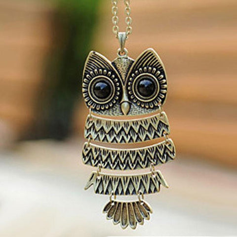 Retro Cute Owl Sweater Necklace - wikoco.com