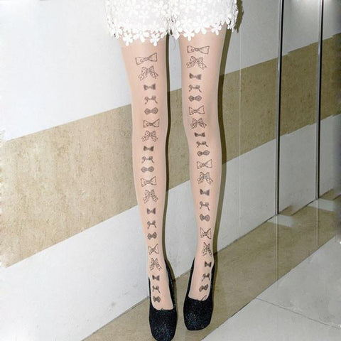 Invisible Ttatoo Bowknot-knot Super Thin Silk Stockings - wikoco.com