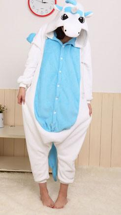Cute Style Flannel Cartoon Unicorn Animal Piece Pajamas - wikoco.com