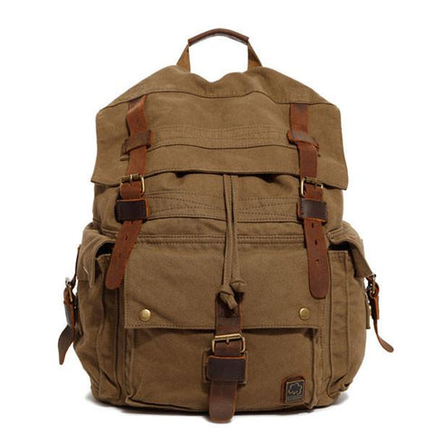 Multi Buckle Big Travel Canvas Backpacks Rucksacks - wikoco.com
