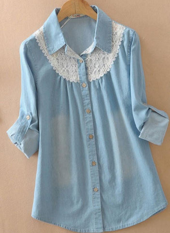 Pretty Latest Loose Lace Denim Shirt - wikoco.com