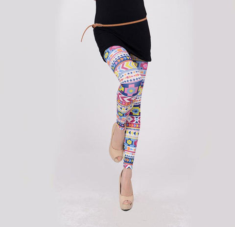 Geometric Colorful Print Leggings - wikoco.com