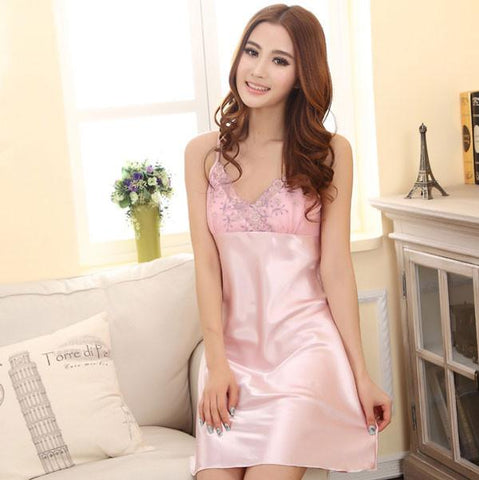 Sexy Lace Woman Silk Pajamas Gallus Dress - wikoco.com