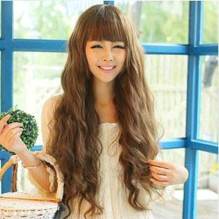 Pretty Natural Wavy Bangs Long Hair Wigs - wikoco.com