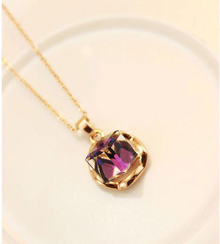 Retro Shiny Gradient Purple Rhinestone Necklace - wikoco.com