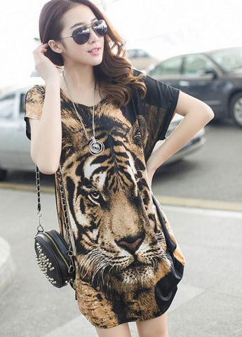 Style Of Printed Tiger Head Loose Irregular Bat Sleeve Female T-shirt