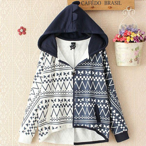 Hooded Batwing Sleeve Cotton Leisure Geometri Pattern Coat - wikoco.com