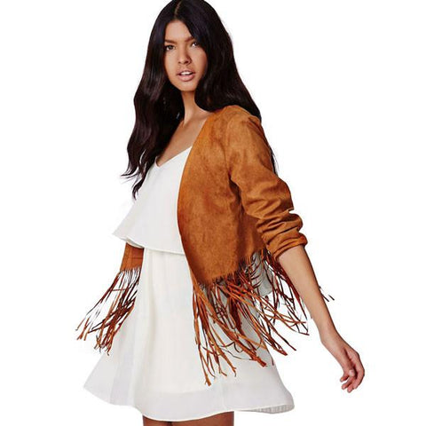 Hot Sale Soft Suede Fringed Hem Buttonless Short Punk Fashion Coat - wikoco.com