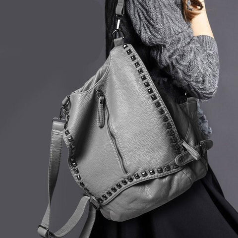 Rivet Soild College Multifunctional Backpacks - wikoco.com