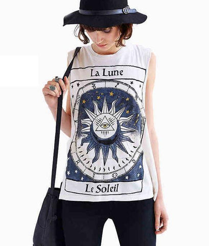 Summer Alphabet Printing Round Neck Sleeveless Women T-shirt