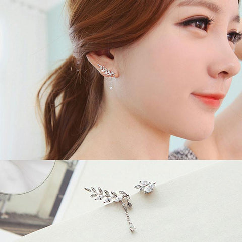 Sweet Leaves Asymmetric Zircon S925 Sterling Silver Earrings
