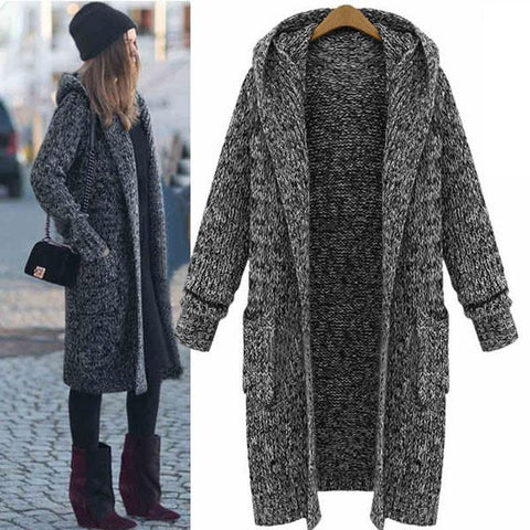 New Hooded Lapel  Long Sweater Coat - wikoco.com