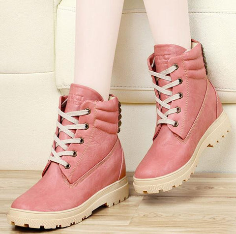 Fashion Height Increasing Shoes Rivet Leather Snow Boots - wikoco.com