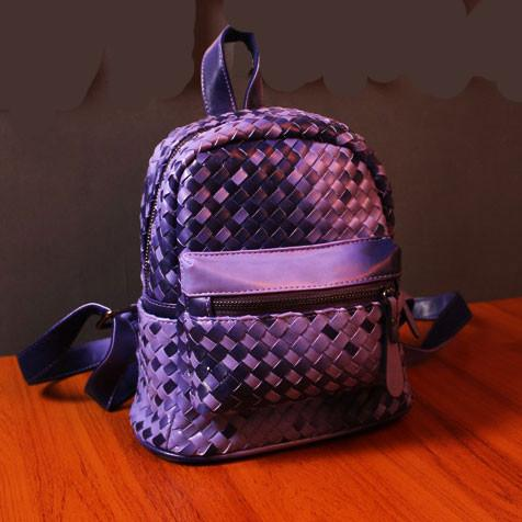 Unqiue Weave Glossy Grid Fashion Backpacks