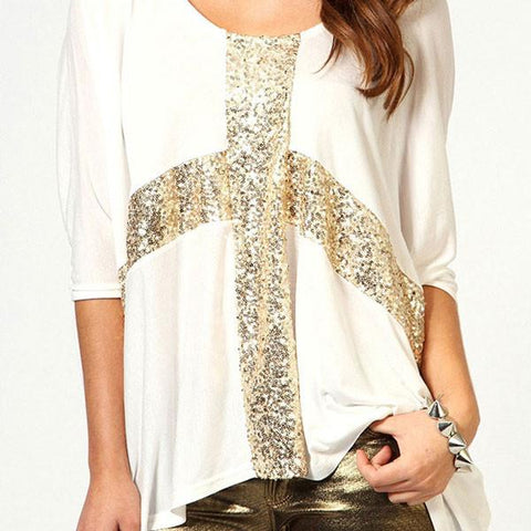 Shinning Cross Sequined Round Neck Sleeve Cotton T-shirt