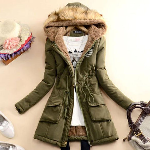 Nice Fashion Slim Wool Hooded Long Winter Cotton Coat - wikoco.com