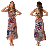Leisure Flower Halter Strap Beach Holiday Long Bohemia Summer Dress - wikoco