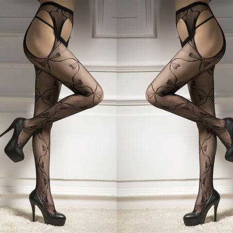 Sexy Bow Jacquard Vine Fishnet Flower Women Stockings